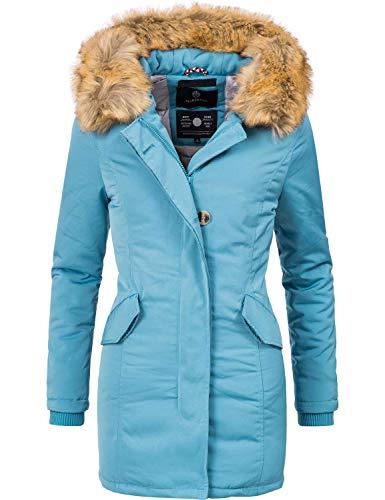 Marikoo Damen Winter Mantel Winterparka Karmaa Hellblau Gr. XS