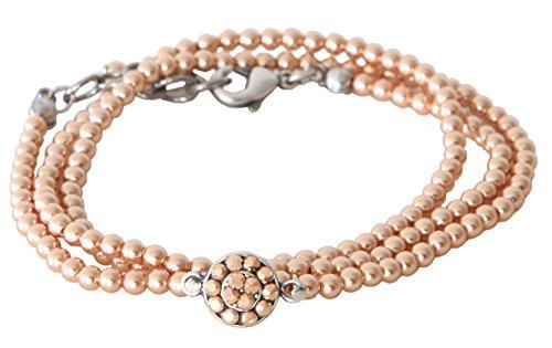 Manon de Brécourt - Bracciale da avvolgere intorno al polso con perle Swarovski rosa oro perla e cristalli vintage rosa Swarovski