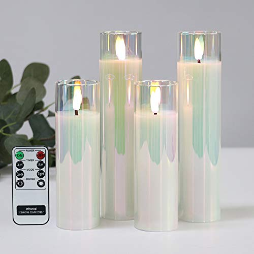 Pearl Shinning Glass Battery Operated LED Candles, White Slim Flameless Candles with Remote, Warm White Light, Batteries Included - Set of 4
