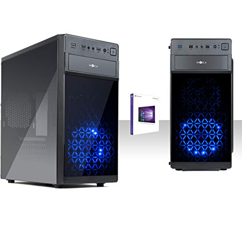 Pc Desktop Intel Quad Core Led Blu, Licenza Windows 10 Pro 64 Bit/Wifi, Hd 1Tb, Ram 8Gb 2400Mhz, Hdmi-Dvi-Vga, Usb 2.0 3.0, Lettore Dvd-Cd/Pc Completo Pronto All'Uso, Ufficio, Casa