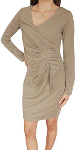 DIVA-MODE Damenkleid Partykleid Businesskleid Minikleid Cocktailkleid mädchen kleid Beige,Rot,Grau od.Schwarz (M, Beige)