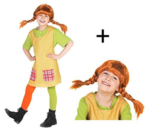 Maskworld Pippi Langstrumpf Komplett Kostüm für Kinder - 4teilig mit Perücke - grün/gelb Lizenz Filmkostüm (98/104)