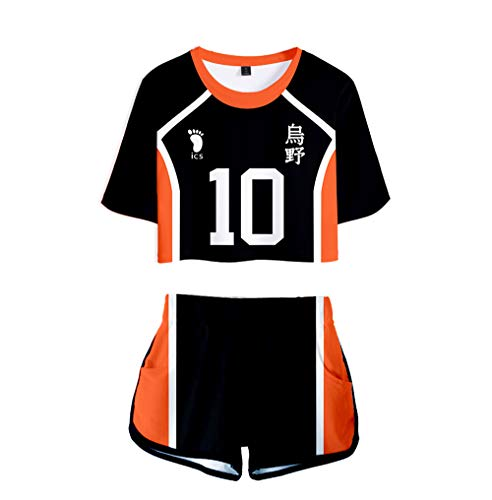 Topcos Womens Girls Karasuno High School Uniform Volleyball Jersey Sportswear Haikyuu Crop Tops Shirt Shorts Set (Small, 10)