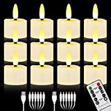 Rechargeable 3D Wicks Tealights Candle Flameless Flickering Battery Operated with Remote Control & Timer Realistic LED Votive Tea Lights for Christmas Halloween Home Decor (12 PCS,Rechargeable)