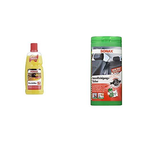 SONAX Wasch & Wax (1 Liter) gründliche Schmutzentfernung und dauerhafter Schutzfilm & InnenReinigungsTücher Box (25 Stück) zur schnellen, einfachen und gründlichen Reinigung Aller Flächen
