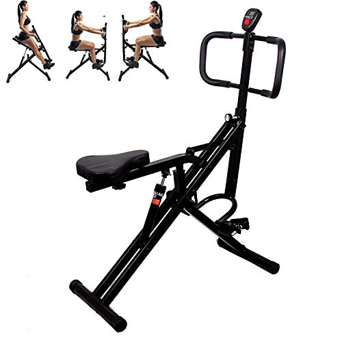 Power Rider Total Crunch Abdominal Squat Glutes Exercise Home Gym Workout Machine Full Body Core Training Fitness System 12 Hydraulic Adjustable Levels Cardio