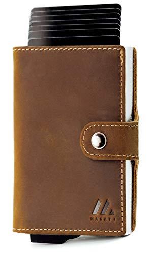 MAGATI Slim Wallet ZILA - Kreditkartenetui mit Kartenfach - Geldbörse, Geldbeutel aus Echt-Leder mit Fundservice, Geldscheinfach und RFID-Schutz Dunkelbraun