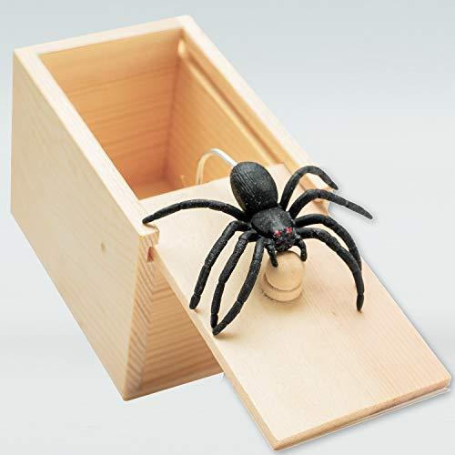 Handcrafted Solid Wood Spider In Box Prank,Rubber Spider Prank Box,Fun Practical Surprise Joke Boxes,Hilarious Halloween spider money surprise box Gift Box Surprise Toy and Gag Gift Practical Joke