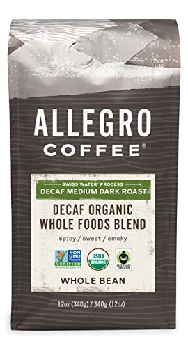 Allegro Coffee Decaf Organic Whole Foods Blend Whole Bean Coffee, 12 oz