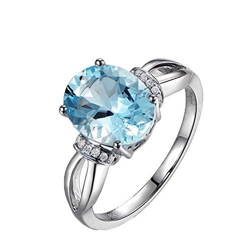 KnBoB Damen Verlobungsring Weissgold 750 Elegant Oval Blau Aquamarin 2.31ct mit Weiß Diamant 0.07ct Ring Größe 51 (16.2)