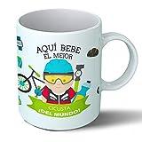 Planetacase Taza Desayuno Aquí Bebe el Mejor Ciclista del Mundo Regalo Original Ciclismo Deportes Ceramica 330 mL