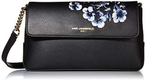 Karl Lagerfeld Paris Damen Embroidered Flap Iris Hermine Bestickte Crossbody-Tasche mit Klappverschluss, Black Flower, Einheitsgröße