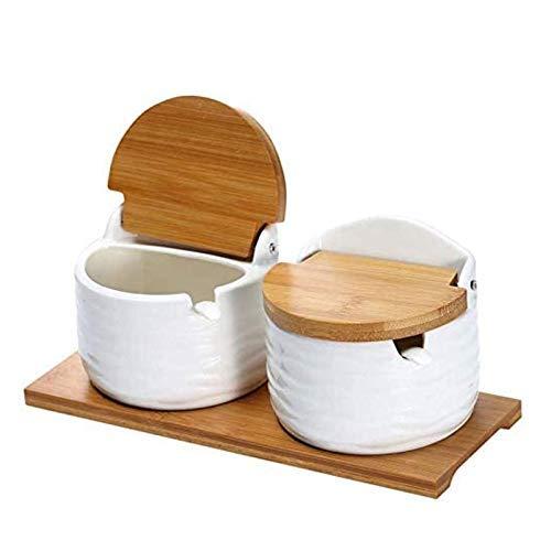 Azucarero de cerámica con tapas y cucharas – Recipiente para