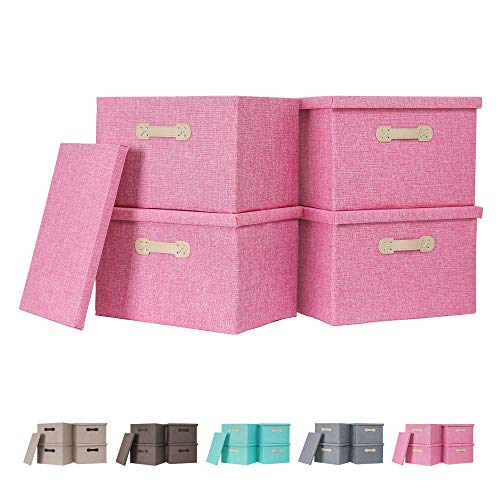 Enzk&Unity Decorative Storage Bins with Lids Fabric Linen Foldable Storage Box with Handle Home Organizer for Shelf Closet Bedroom Living Room Office 4 Packs Pink