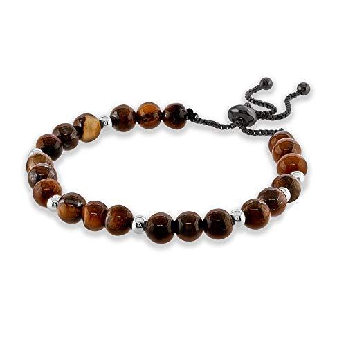 Believe London Tiger Eye Bracelet with Jewellery Bag & Meaning Card | Strong Elastic | Precious Natural Stones Crystal Healing Gemstone Men Women