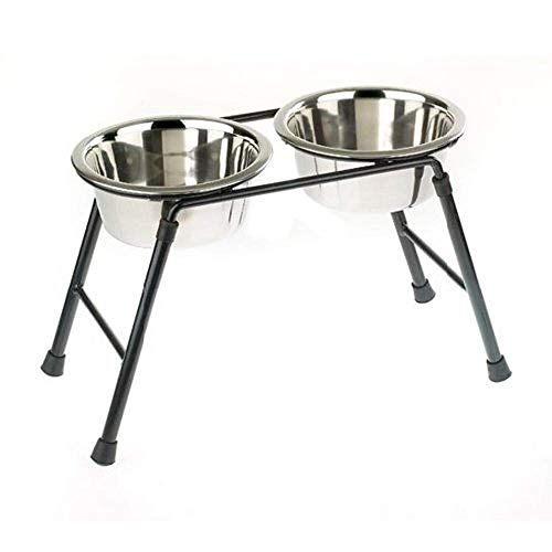 Classic Caldex Classic Pet Products Double Feeder High Stand with Stainless Steel Dishes Comedero Doble Metálico con Base Elevada, Metal, 900 ml