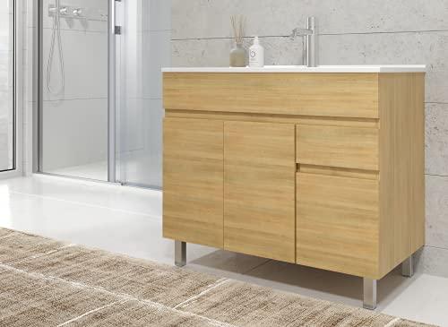 Mueble de baño con Lavabo de Porcelana - 3 Puertas y 1 Cajón amortiguado - El Mueble va MONTADO - Modelo Clif (80 cms, Hera)