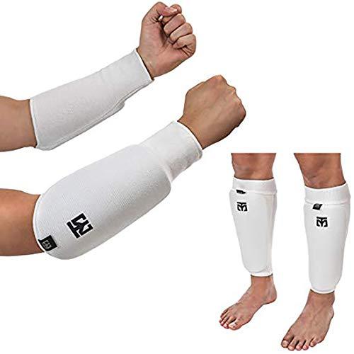 MOOTO Taekwondo Forearm & Shin Guard Cotton Type EVA Sponge Pad Injury Prevention TKD MMA Martial Arts Kick Boxing (2.L(170-188 cm or 5.58-6.17 inch))