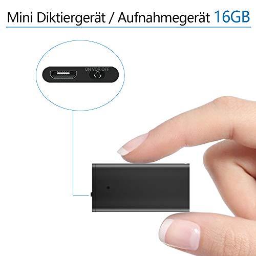 Mini Diktiergerät/Aufnahmegerät/Sprachrekorder - dünnster verfügbarer sprachaktivierter Rekorder mit 192 Stunden Aufnahmespeicher - Audiorecorder mit MP3 für Vorträge, Besprechungen, Interviews