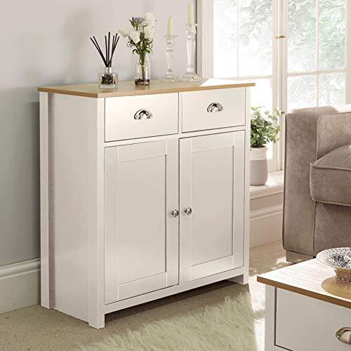 Home Source Off White Oak Sideboard 2 Door 2 Drawer Storage Cupboard, Cream, Metal Handles