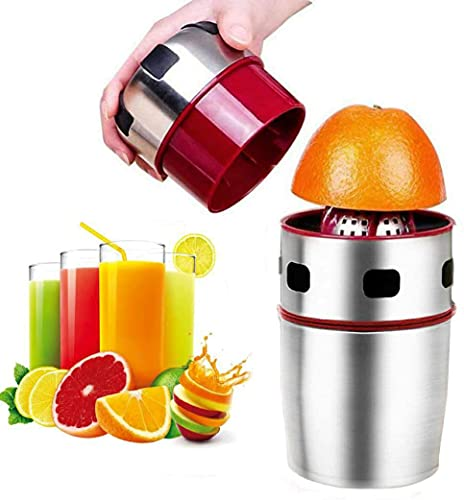 DYRROTH Manual Orange Juicer,Stainless Steel 304 Citrus&Fruit Hand Squeezer,Juice Extractor with a Built-in Container,Anti-skid Design,Ideal for Citrus,Apples,Pineapples or Grapefruits.