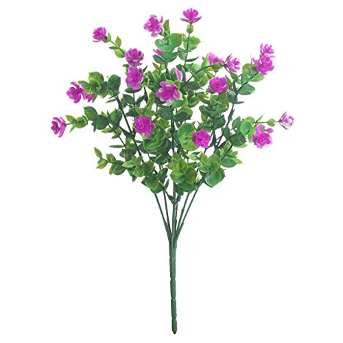 LEV Artificial & Dried Flowers - 6pcs Artificial Flowers Fake Outdoor Boxwood shrubs Faux Plastic Greenery Plants for Outside Hanging Planter Patio Yard Decor - by 1 PCs