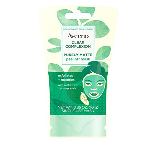 Aveeno Clear Complexion Pure Matte Peel Off Face Mask with Alpha Hydroxy Acids, Soy &...