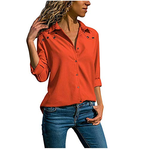 SFYZY Damen V-Ausschnitt Einfarbige Öse Mode Langarm Loose Fit Button Down Bluse Casual Revers T-Shirt Chiffon Top