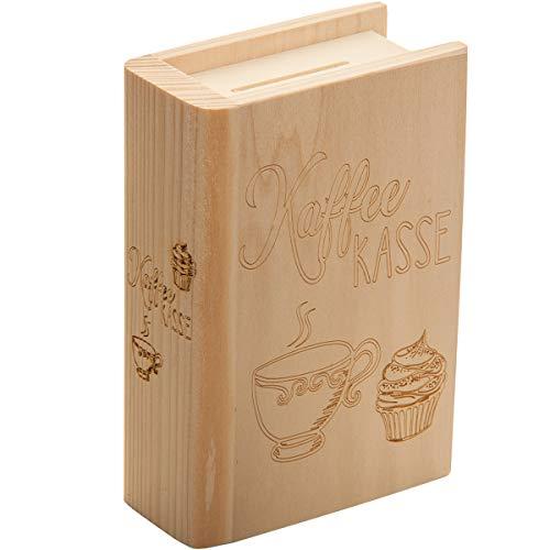 Spruchreif PREMIUM QUALITÄT 100% EMOTIONAL · Spardose Buch aus Holz mit Gravur Kaffee Kasse · Motiv Cupcake und Kaffee · Geldgeschenk Sparbüchse · Trinkgeld Kasse für die Arbeit · Büro