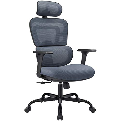 High-Back Home Ergonomic Office Chair Breathable Mesh Desk Chair Computer Task Chair with Headrest, Adjustable Armrests and Lumbar Support