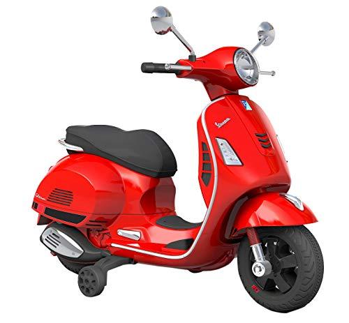 Moto Scooter Elettrico per Bambini 12V Piaggio Vespa GTS Sport Rossa