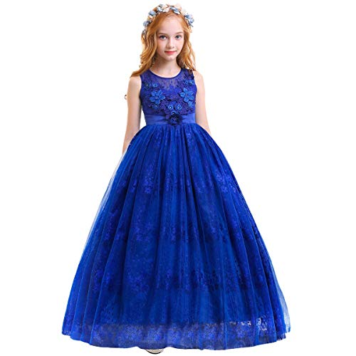 Little Big Girls'Tulle Retro Vintage Dresses Flower Lace Pageant Party Wedding Floor Length Dance Evening Gown Royal Blue #2 15-16 Years