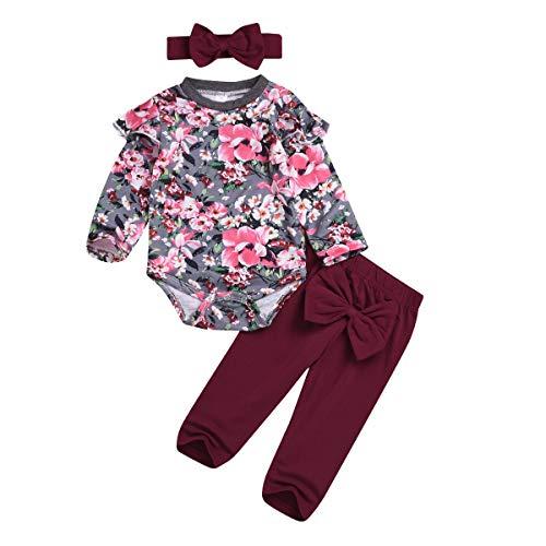 3 stks Baby Meisje Peuter Bloemen Kleding Ruche Lange Mouw Shirt + Broek + Hoofdband Outfits Set (12M-18M, Grijs+Wijn Rood)