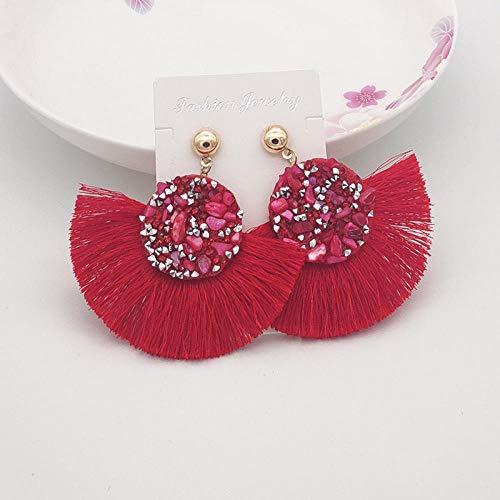 XCWXM Brillante bohemón Cristal Borla Pendientes de pedrería Largo Colgante de Borla Pendientes adecuados para Damas joyería de Moda-Rojo