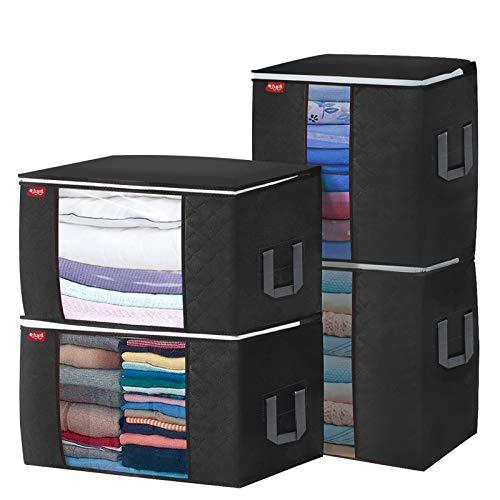 Bolsa de almacenamiento de gran capacidad, 4 bolsas de almacenamiento debajo de la cama con asa reforzada para ropa, edredones, mantas, ropa de cama negra