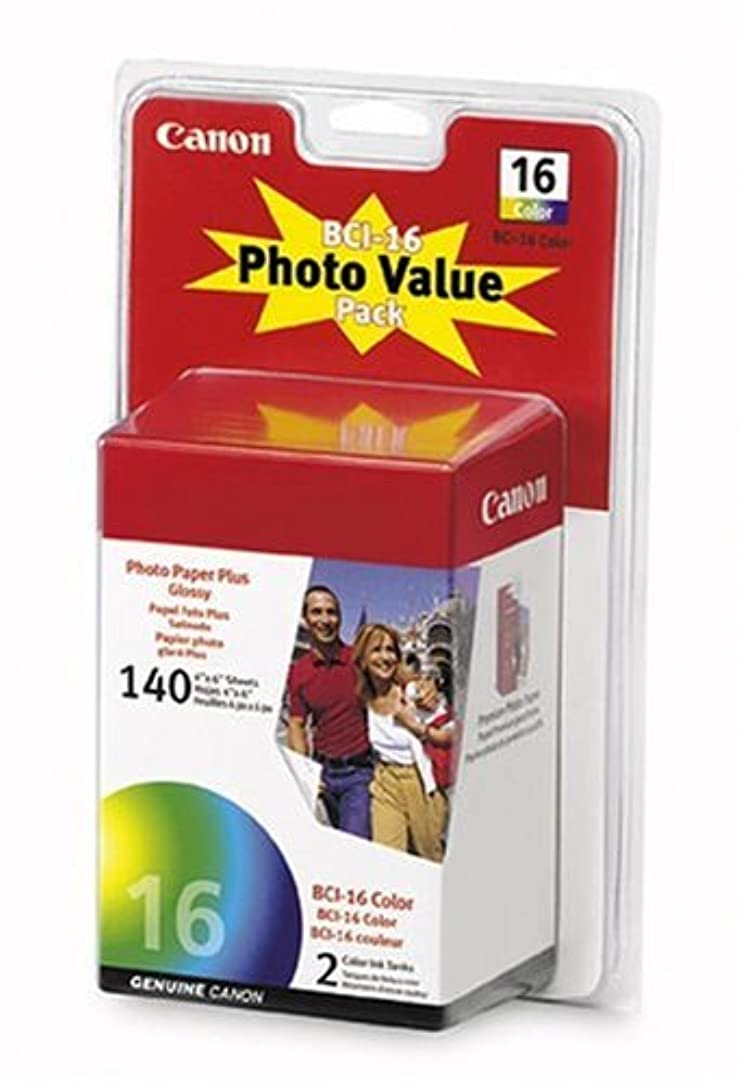 CANON Photo Value Pack (9818A007) 2 BCI-16 Color Ink Tanks with 140 Sheets of 4x6 Glossy Photo Paper