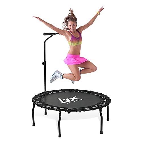 101,6 cm/127,7 cm faltbares Mini-Trampolin, Fitness-Rebounder mit verstellbarem Schaumstoffgriff, Trainingstrampolin für Kinder und Erwachsene, Indoor-/Outdoor-Workout, maximale Belastung 150 kg