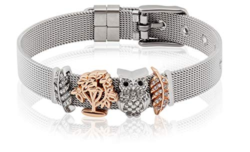 Entzückt | Mesh Armband mit Eule Anhänger | Individuelle Anhänger | Charms austauschbar | aus Edelstahl veredelt | Größenverstellbar | Bracelet Armband |(Eule - Silber)
