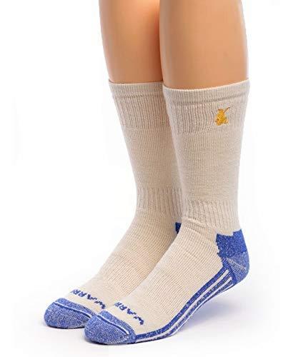 Warrior Alpaca Socks - High Performance Alpaca Wool Sport Socks For Men and Women - White/Blue Crew, Large