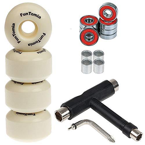 FunTomia 4X Rillen-Profil Rollen 53mmx34mm Härtegrad 100A + T-Tool für Skateboards inkl. Mach1 Kugellager/Wheels