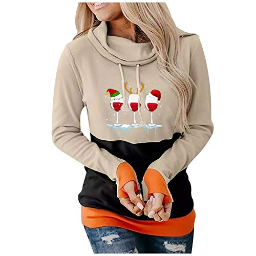 Hoodies for Women Casual Christmas Cowl Neck Long Sleeve Drawstring Top Wine