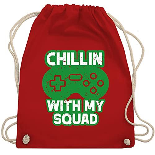 Shirtracer Nerd Geschenke - Chillin with my Squad grün - Unisize - Rot - Geschenk - WM110 - Turnbeutel und Stoffbeutel aus Baumwolle
