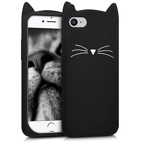 kwmobile Schutzhülle kompatibel mit Apple iPhone 7/8 / SE (2020) - Hülle Handy - Handyhülle - Silikon Cover Hülle Katze Schwarz Weiß
