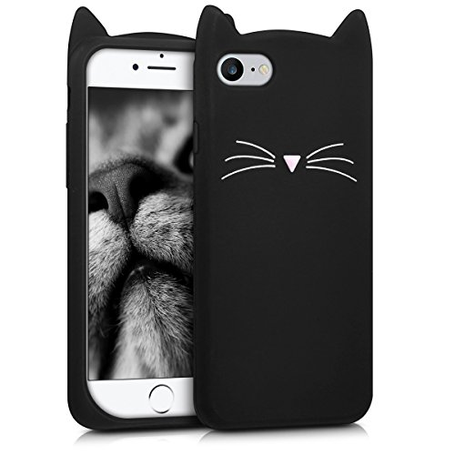 kwmobile Funda Compatible con Apple iPhone 7/8 / SE (2020) - Carcasa de Silicona y con Gato - Cover Trasero de móvil