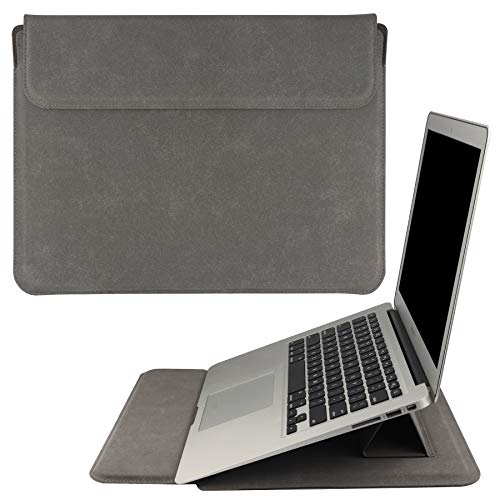 HoYiXi 13.3 Pollici Laptop Portatile Custodia Borsa con Funzione Stand Protettiva Sleeve Case in Pelle PU Compatibile con MacBook Air 13'' 2018-2021/MacBook Pro 13 2016-2021, Grigio