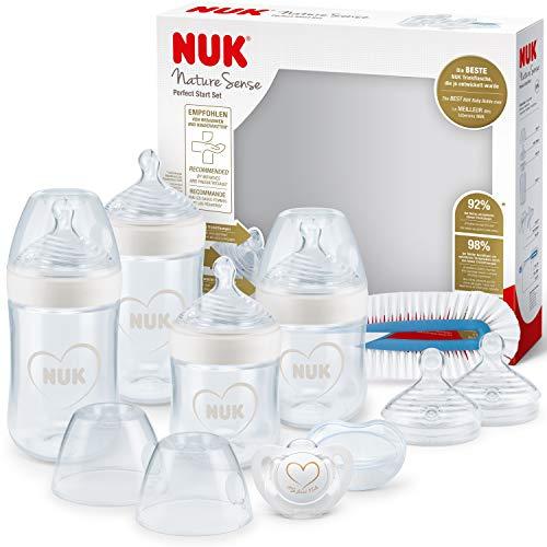 NUK Nature Sense Coffret Naissance de biberons | 0-18mois | 4biberons anti-coliques, une sucette, un goupillon à biberon plus d'autres accessoires | anti-colique | blanc (cœur) | 9unités