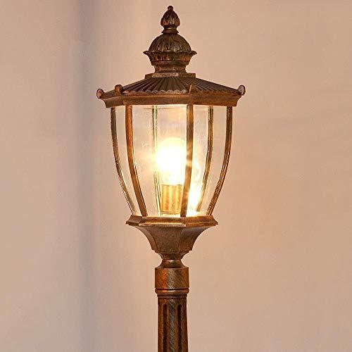 N/Z Home Equipment Waterproof Outdoor Street Lawn Lamp Floor High Pole Post Bollard Light Traditional Vintage Patio Garden Lighting E27 Aluminum Metal Pillar Column Lamp Glass Lantern