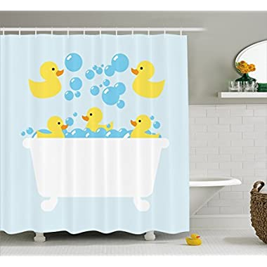Lunarable Duckies Shower Curtain by, Yellow Rubber Poultry Toys inside a Tub Abstract Cartoon Style Drawing with Bubbles, Fabric Bathroom Decor Set with Hooks, 70 Inches, Multicolor