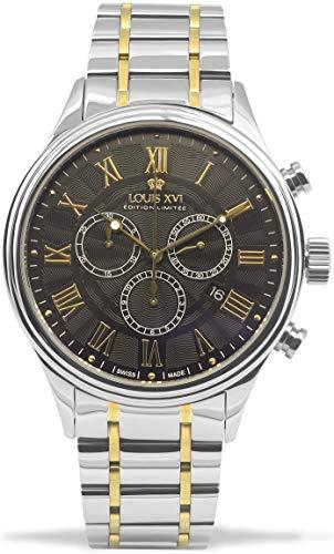 LOUIS XVI Herren-Armbanduhr Danton Bicolor Silber Gold Schwarz Stahlband Römische Zahlen Chronograph Analog Quarz Edelstahl 978