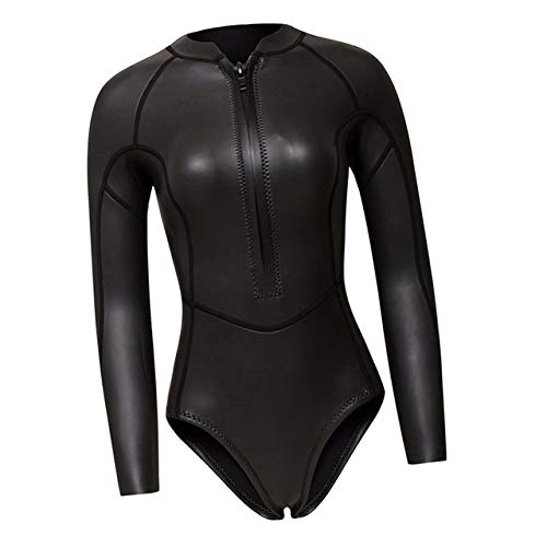 Z.L.FFLZ Nadelanzug 2MM NeoprenWetsuit Frauen Langarm-Sporttauchen Taucheranzug Badeanzug Rash Guard Wetsuit for Surfen Schwimmen Tauchanzug (Color : Black Glossy XS)